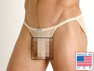 Model in blush Rick Majors Sheer Mesh Sports Brief