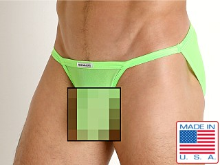 Model in neon lime Rick Majors Sheer Mesh Sports Brief