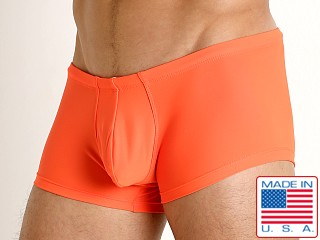 Model in orange Rick Majors Low Rise Swim Trunk