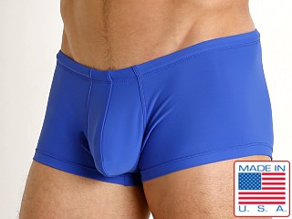 Model in royal Rick Majors Low Rise Swim Trunk