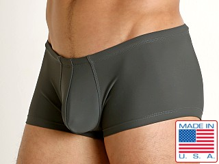 Model in charcoal Rick Majors Low Rise Swim Trunk