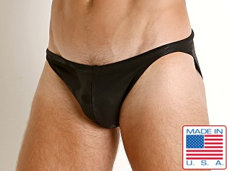 Model in black camo LASC Super Low Rise Swim Brief
