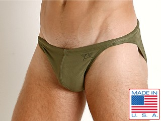 Model in olive LASC Super Low Rise Mesh Swim Brief