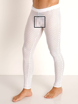 Model in white McKillop Glory Mesh Tights