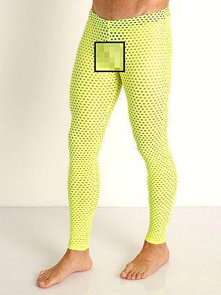Model in yellow McKillop Glory Mesh Tights Neon