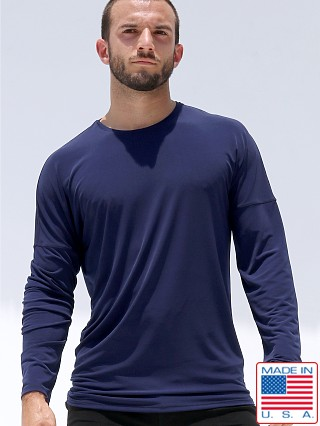 Model in navy Rufskin Bhakti Stretch Jersey Long Sleeve Shirt