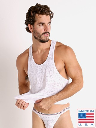 Model in white Rick Majors Burnout Ringer Tank Top