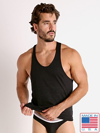 Model in black Rick Majors Burnout Ringer Tank Top