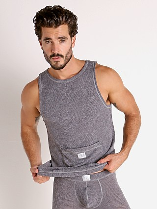 Model in charcoal grey Modus Vivendi Smooth Knit Tank Top Smoke Grey