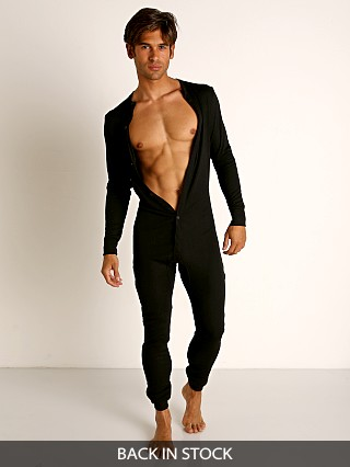 Model in black Rick Majors American Classic Back Flap Union Suit