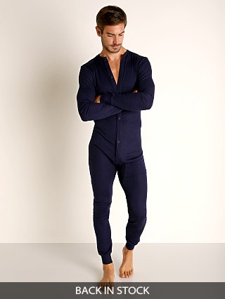Model in navy Rick Majors American Classic Back Flap Union Suit