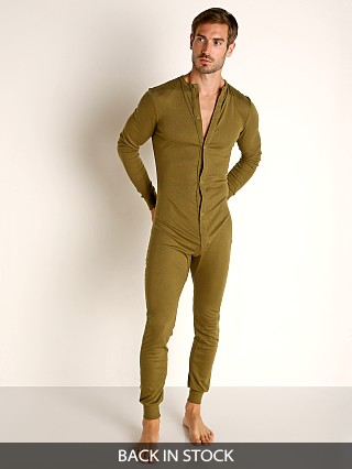 Model in army Rick Majors American Classic Back Flap Union Suit