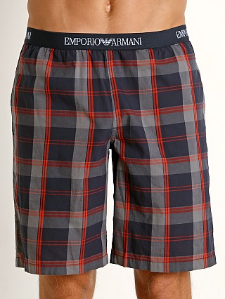 Model in grey check/orange Emporio Armani Yarn Dyed Woven Bermuda Shorts