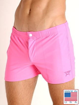 Model in tropic pink LASC Malibu Swim Shorts