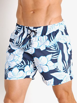 Model in navy Hugo Boss Piranha Swim Shorts