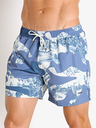 Model in blue Hugo Boss Spotfish Swim Shorts
