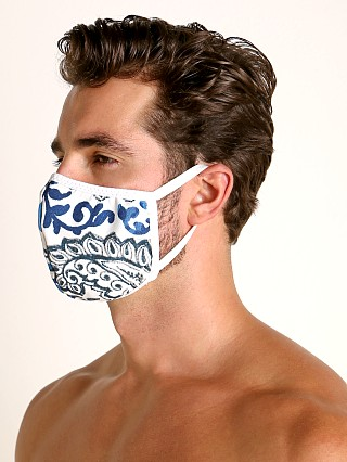 Model in white paisley AT Surgical Face Mask