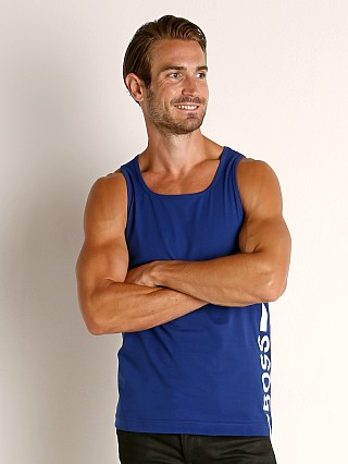 Model in blue Hugo Boss Beach Tank Top