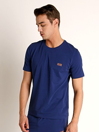 Model in navy Hugo Boss Mix & Match T-Shirt
