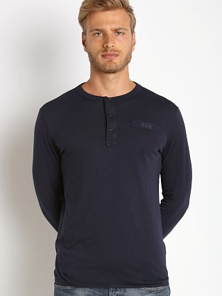 G-Star Classic Granddad Henley Saru Blue Heather