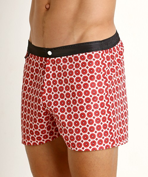 Jack Adams Hipster Swim Trunk White/Red