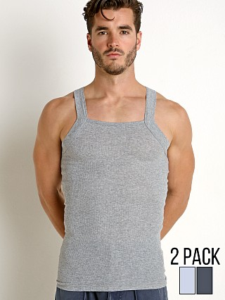 baf2de7039b3a3 Complete the look  2xist Essential Square-Cut Tank 2-Pack Charcoal Grey