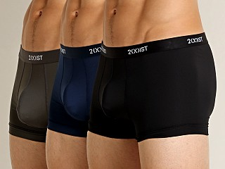2xist Micro Speed Dri No-Show Trunk 3-Pack Black/Charcoal/Navy