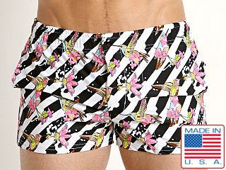 LASC Malibu Swim Shorts Pink Hummingbirds