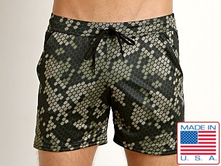 LASC Printed Performance Short Olive Pacman