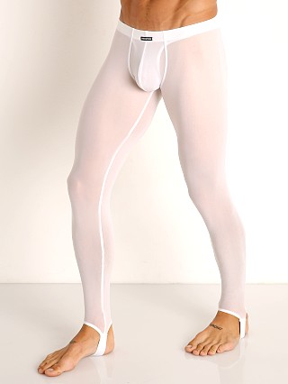 Model in white Manstore Fine Mesh Leggings