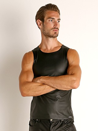 Model in black Manstore Vegan Leather Tank Top