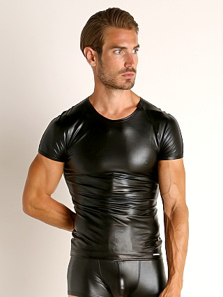 Model in black Manstore Brando Rubberized Shiny Tee