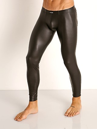 Model in black Manstore Matte Latex-Look Tights
