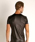 Manstore Matte Latex-Look V-Neck Tee Black, view 4