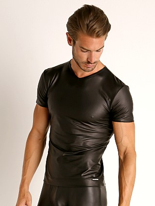 Model in black Manstore Matte Latex-Look V-Neck Tee
