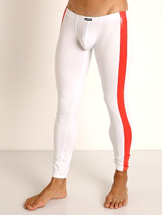 Model in white/red Manstore Rubber-Look Bungee Leggings