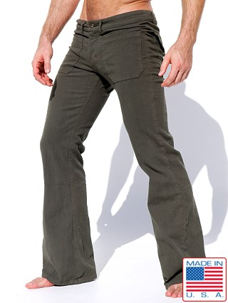 Model in forest Rufskin Ranger Stretch Cotton Twill Flare-Leg Pants