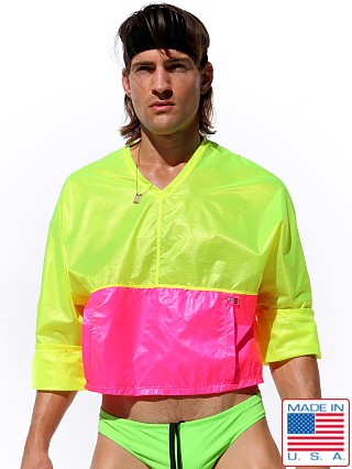 Model in lemon Rufskin Bulle Nylon Rip-Stop Sport Top