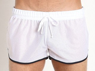Model in white/navy McKillop Ignite Sports Mesh Shorts