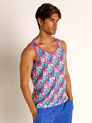 Model in fuchsia/ocean St33le Fuchsia Floral Stretch Mesh Tank Top