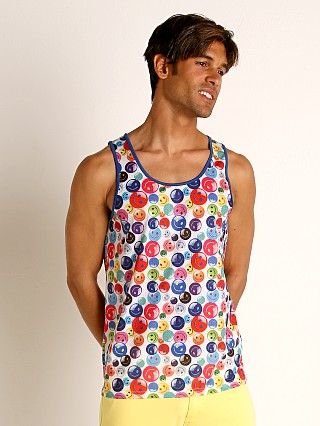 Model in rainbow/multi St33le Rainbow Smiley Stretch Mesh Tank Top