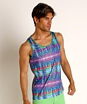 St33le Cobalt Tribal Stretch Jersey Tank Top, view 3