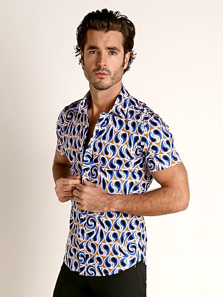 Complete the look: St33le Stretch Jersey Knit Short Sleeve Shirt Gold/Blue Swirls