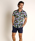 St33le Stretch Jersey Knit Short Sleeve Shirt Navy/Green Floral, view 1