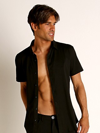Model in black St33le Stretch Jersey Knit Short Sleeve Shirt
