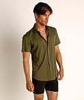 St33le Stretch Jersey Knit Short Sleeve Shirt Army, view 2