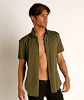 St33le Stretch Jersey Knit Short Sleeve Shirt Army, view 3