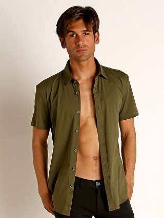 Model in army St33le Stretch Jersey Knit Short Sleeve Shirt