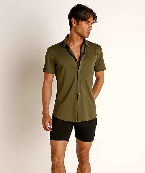 St33le Stretch Jersey Knit Short Sleeve Shirt Army
