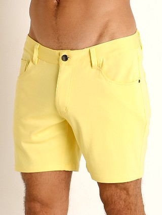 Model in lemon drop St33le Knit Jeans Shorts